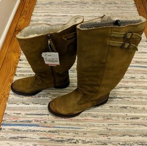 Zara suede faux fur lined tall boots